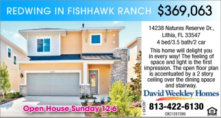 Redwing In Fishhawk Ranch $369,063