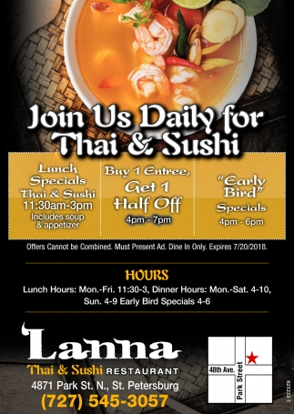 Join Us Daily For Thai & Sushi