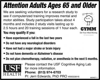 Attention Adults Ages 65 And Older