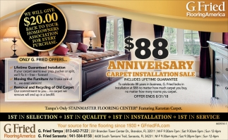 $88 ANNIVERSARY CARPET INSTALLATION SALE