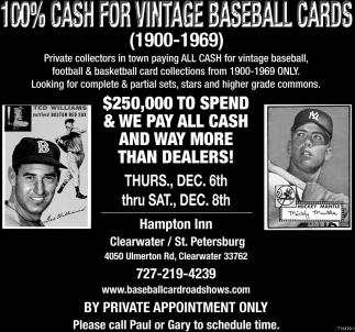 100 Cash For Vintage Baseball Cards Baseball Card Roadshos