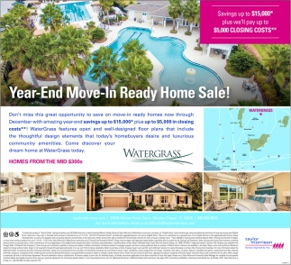 Year-End Move-In Ready Home Sale!