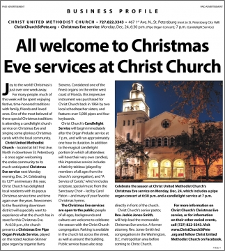 All Welcome To Christmas Eve Services