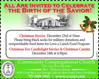 ALL ARE INVITED TO CELEBRATE THE BIRTH OF THE SAVIOR!