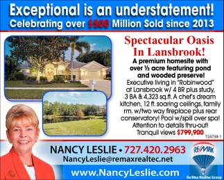 Spectacular Oasis In Lansbrook!