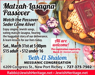 Watch The Passover Seder Come Alive!, Beth-el Shalom