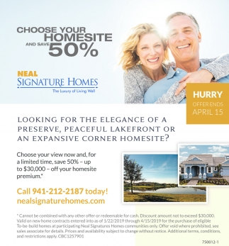 CHOOSE YOUR HOMESITE AND SAVE 50%