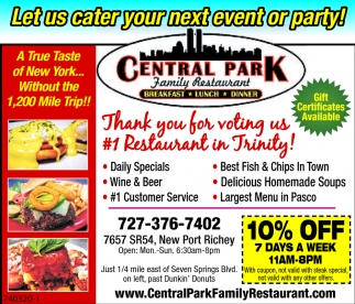 Let Us Cater Your Next Event Or Party Central Park Family