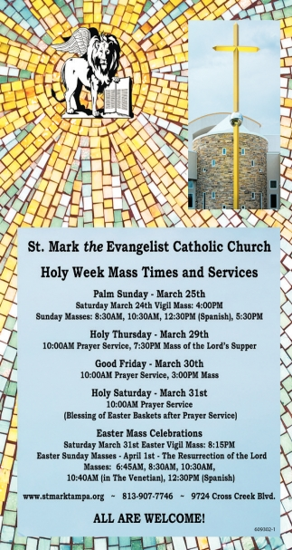 Holy Week Mass Times And Services