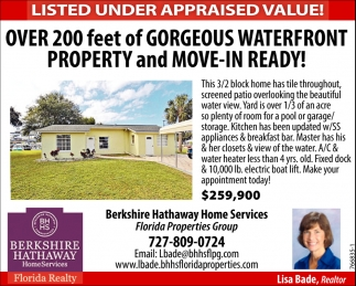 LISTED UNDER APPRAISED VALUE!