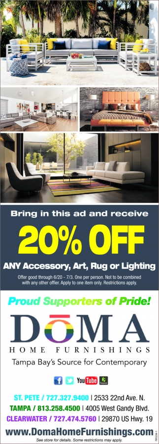 Bring This Ad And Receive 20% Off