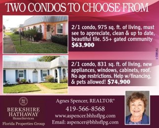 TWO CONDOS TO CHOOSE FROM