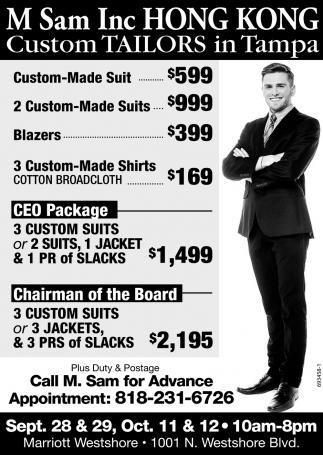 Custom Tailors In Tampa