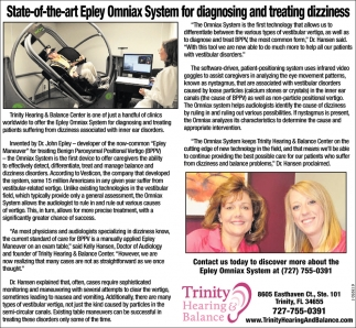 State-Of-The-Art Epley Omniax System For Diagnosing And Treating Dizziness