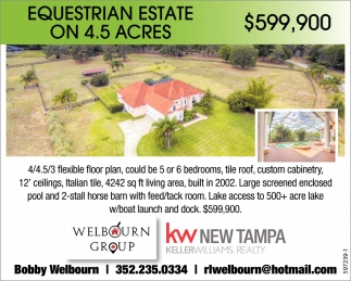 Equestrian Estate On 4.5 Acres