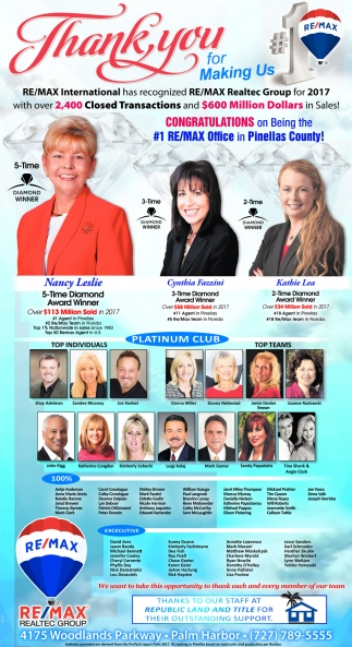 Congratulations On Being The #1 Re/Max Office In Pinellas County!